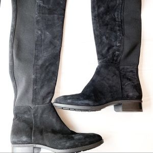 SAM EDLEMAN Black Suede Pam Over the Knee Boots